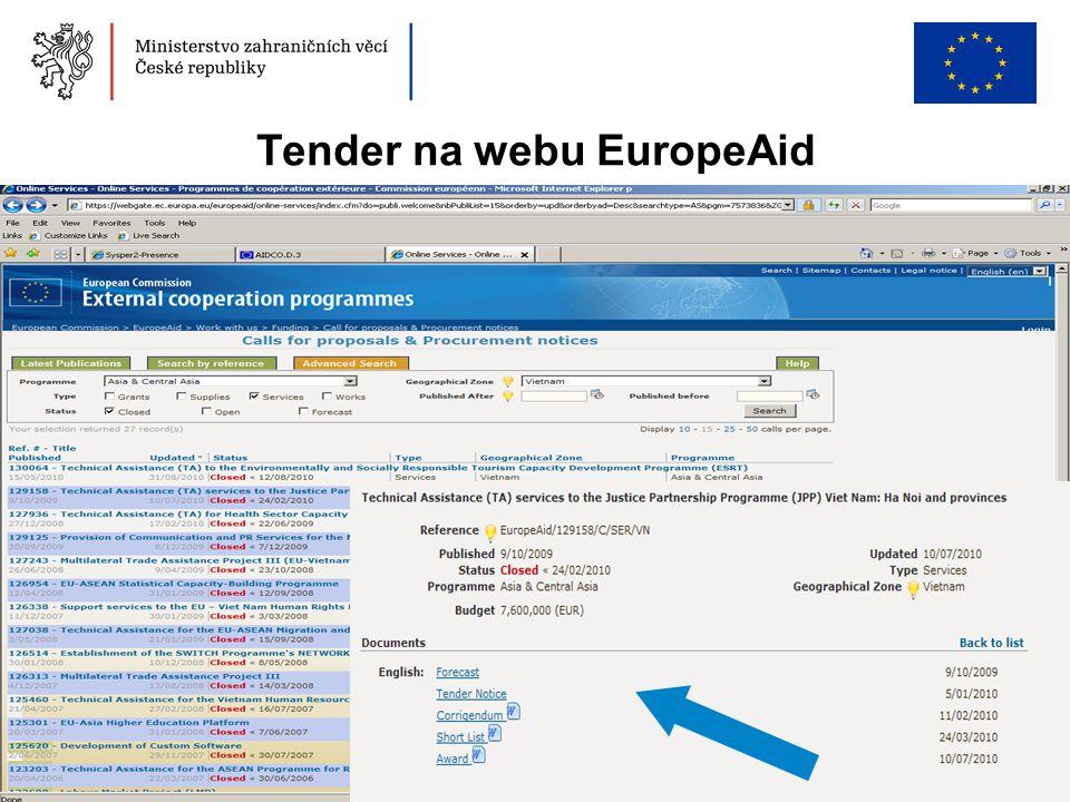 Tender na webu EuropeAid