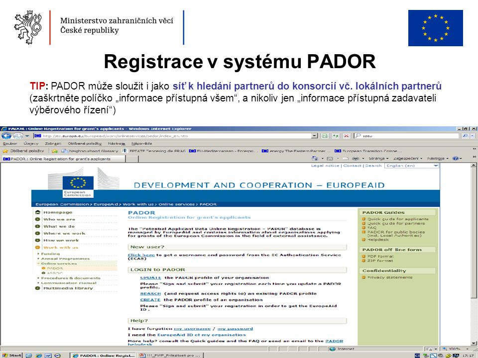 Registrace v systému PADOR