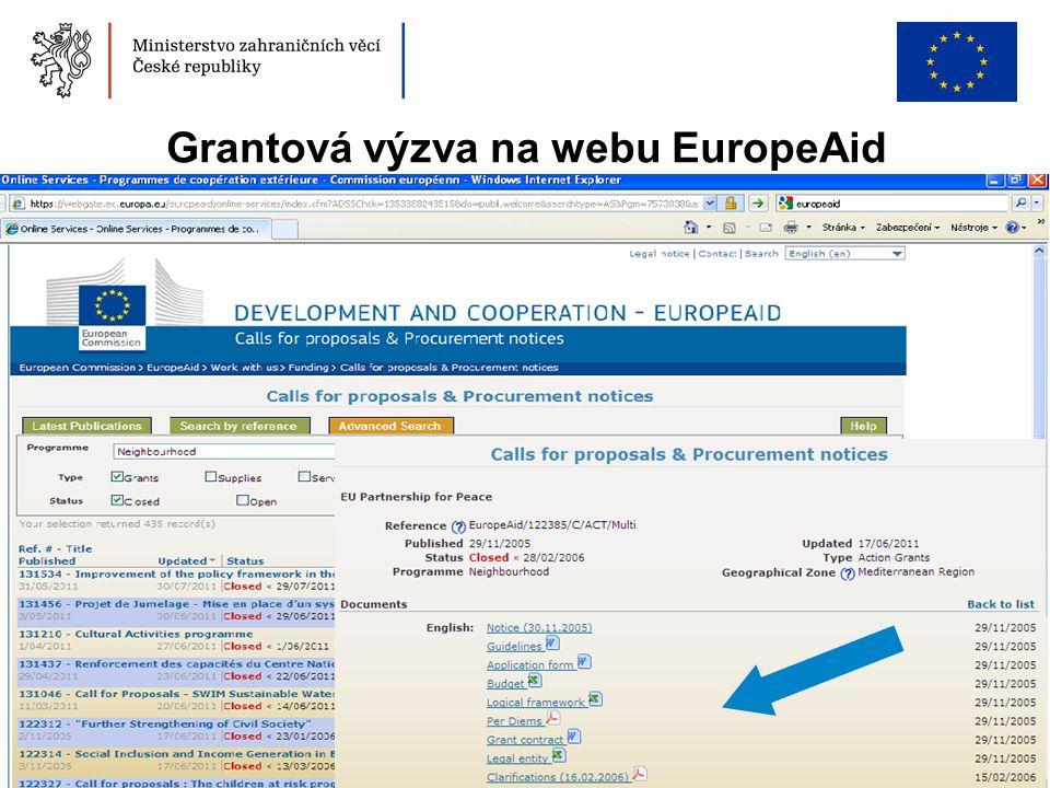 Grantová výzva na webu EuropeAid
