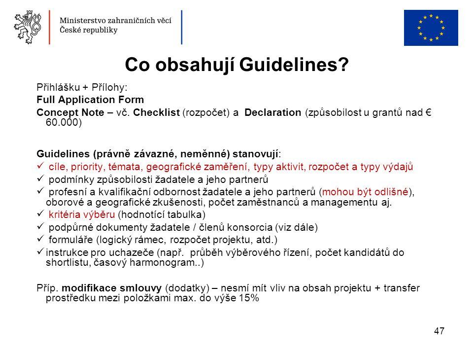 Co obsahují Guidelines