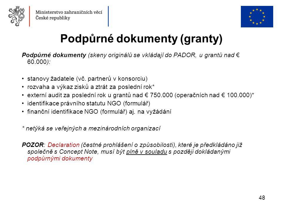 Podpůrné dokumenty (granty)