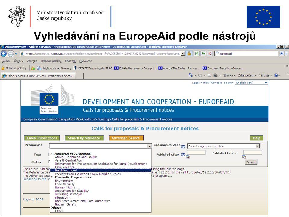 Vyhledávání na EuropeAid podle nástrojů