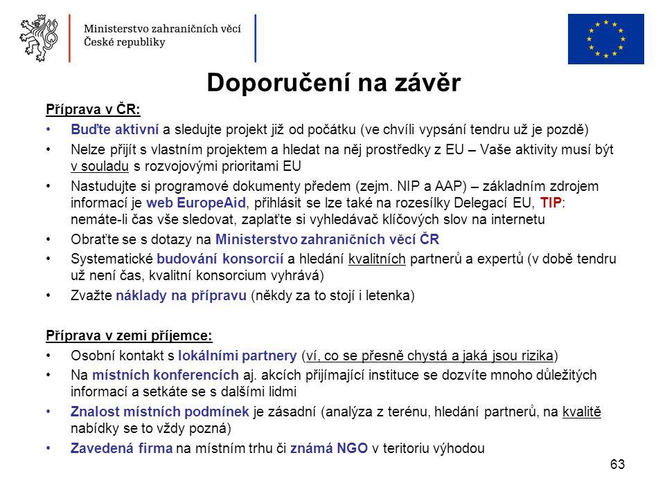 Doporučení na závěr Příprava v ČR: