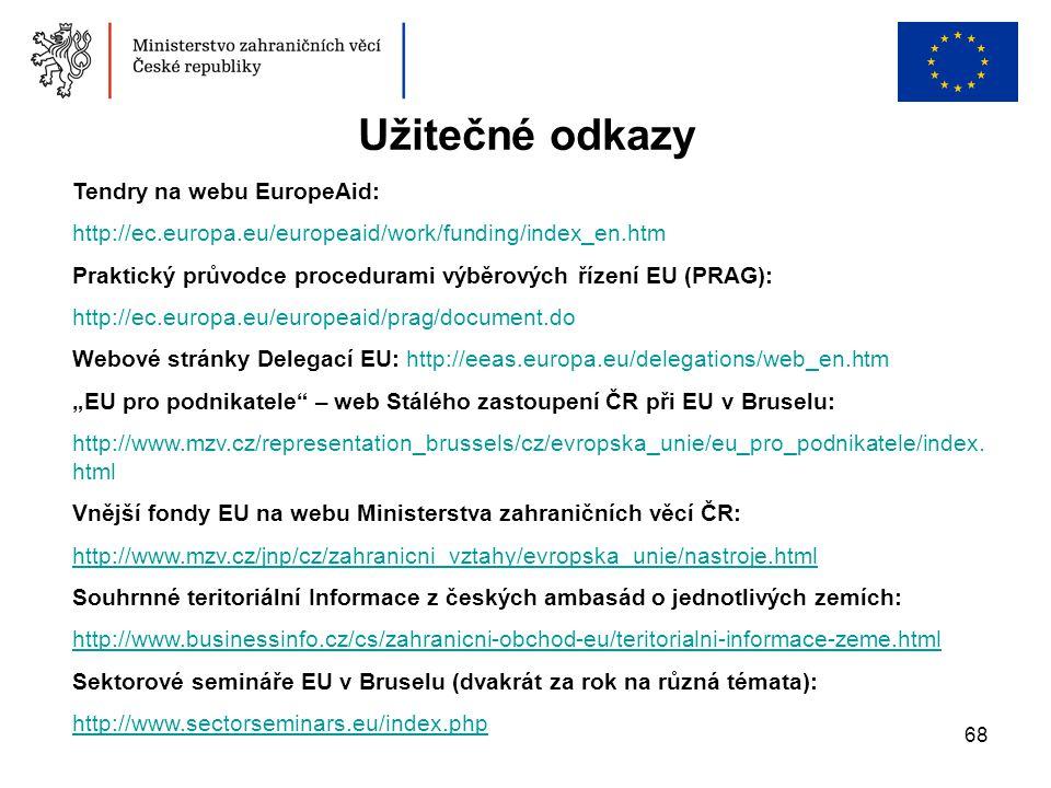 Užitečné odkazy Tendry na webu EuropeAid: