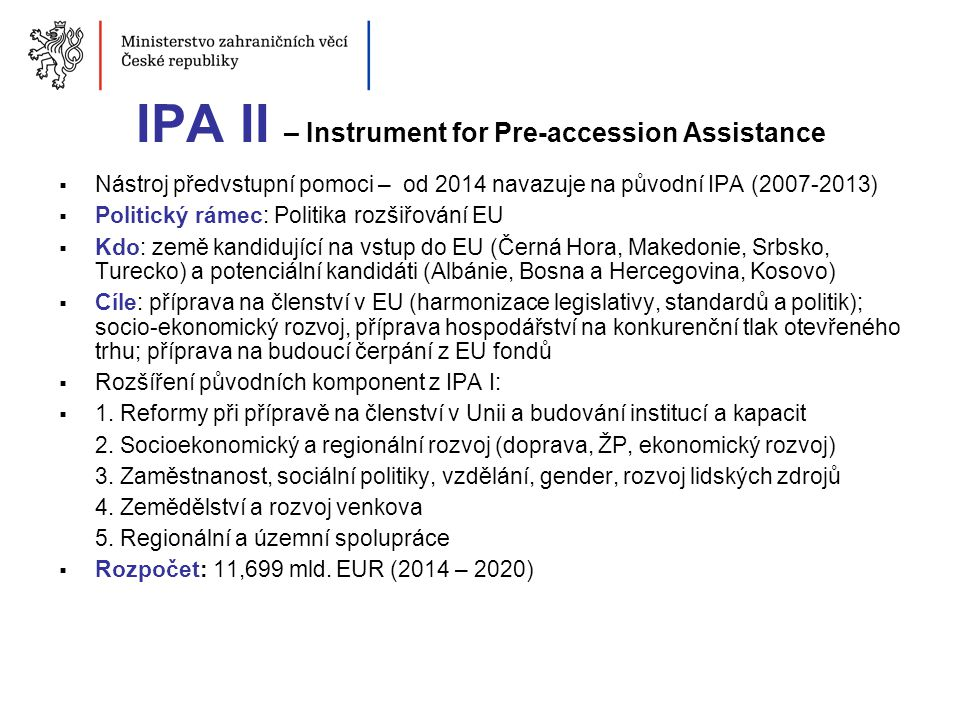 IPA II – Instrument for Pre-accession Assistance
