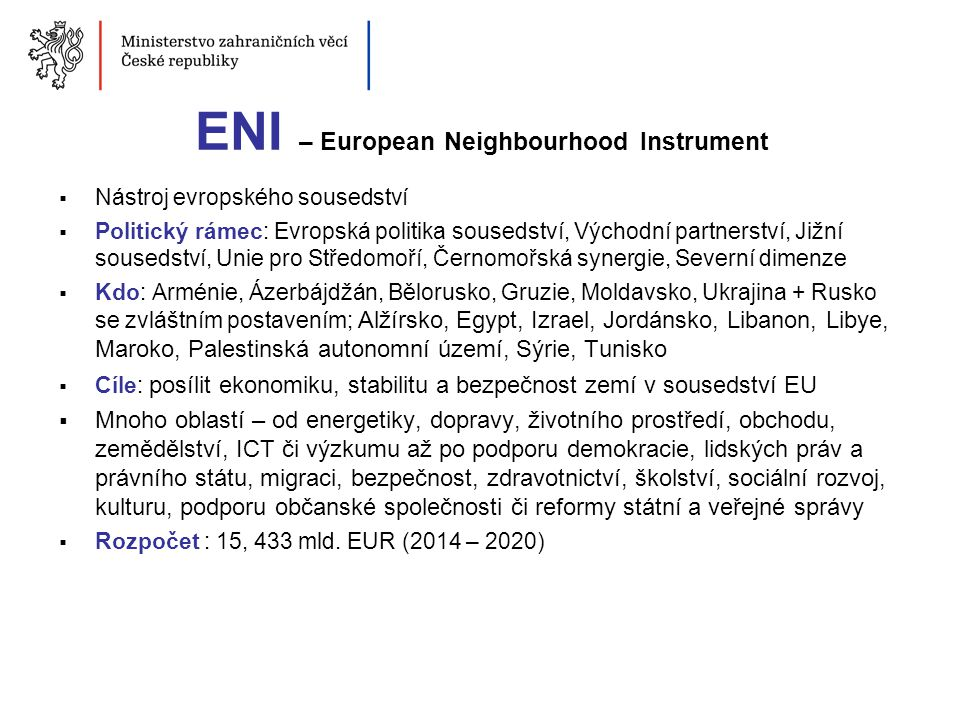 ENI – European Neighbourhood Instrument