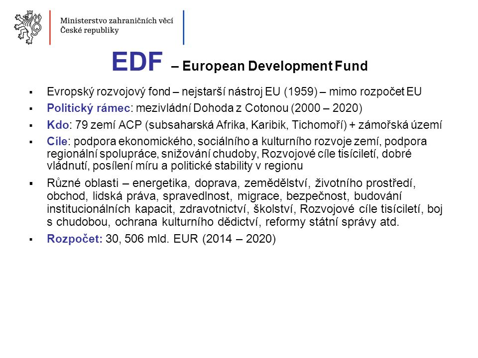 EDF – European Development Fund