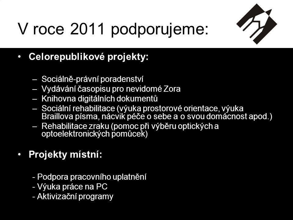 V roce 2011 podporujeme: Celorepublikové projekty: Projekty místní:
