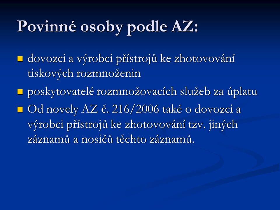 Povinné osoby podle AZ: