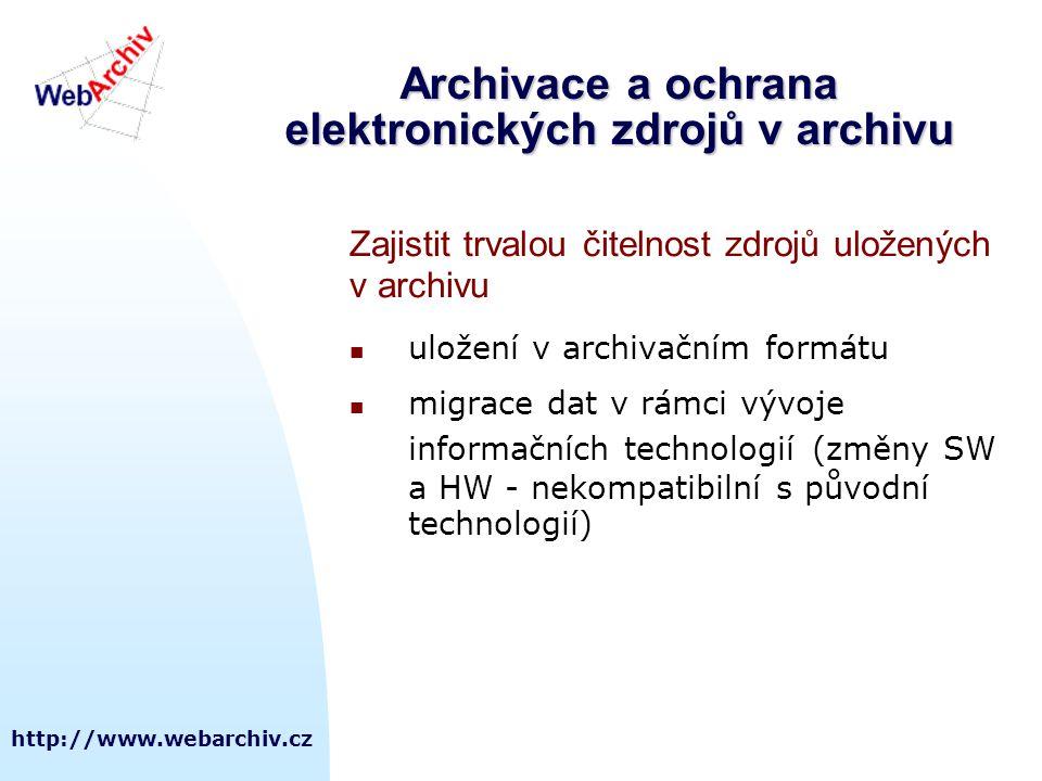 Archivace a ochrana elektronických zdrojů v archivu
