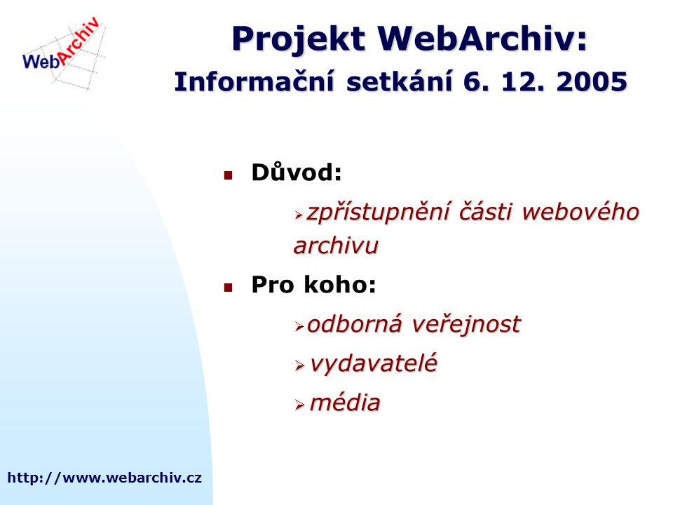 Projekt WebArchiv: Informační setkání 6. 12. 2005