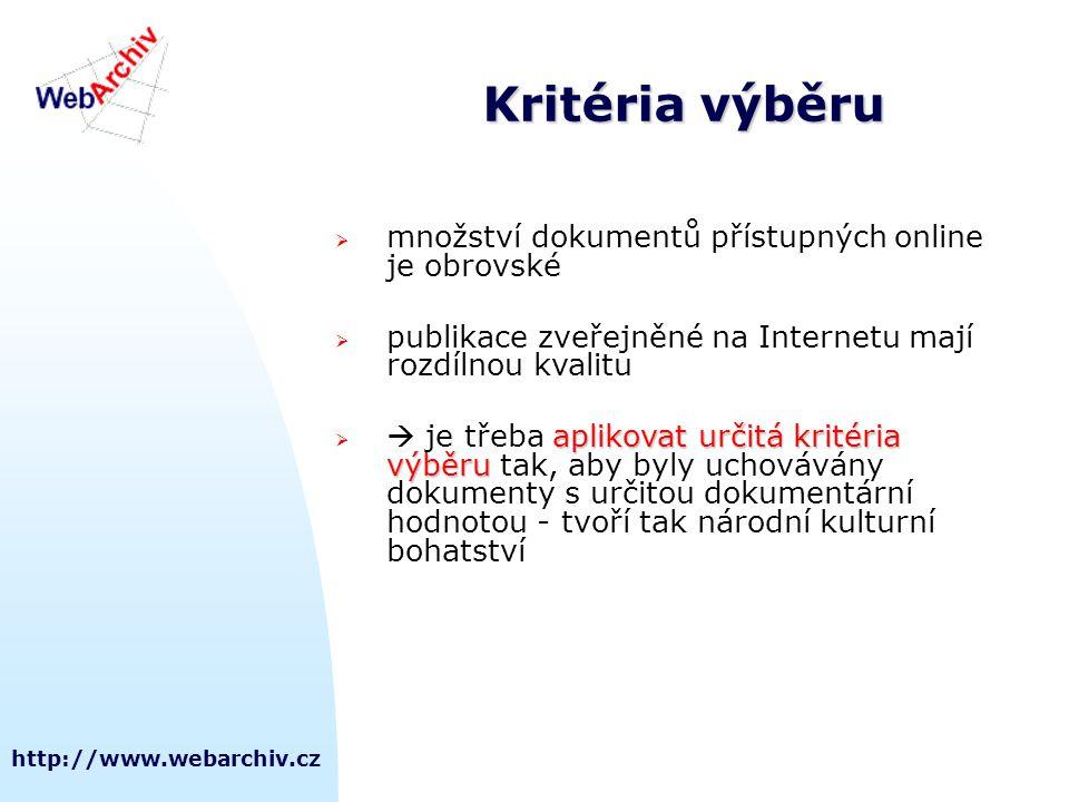 Kritéria výběru množství dokumentů přístupných online je obrovské