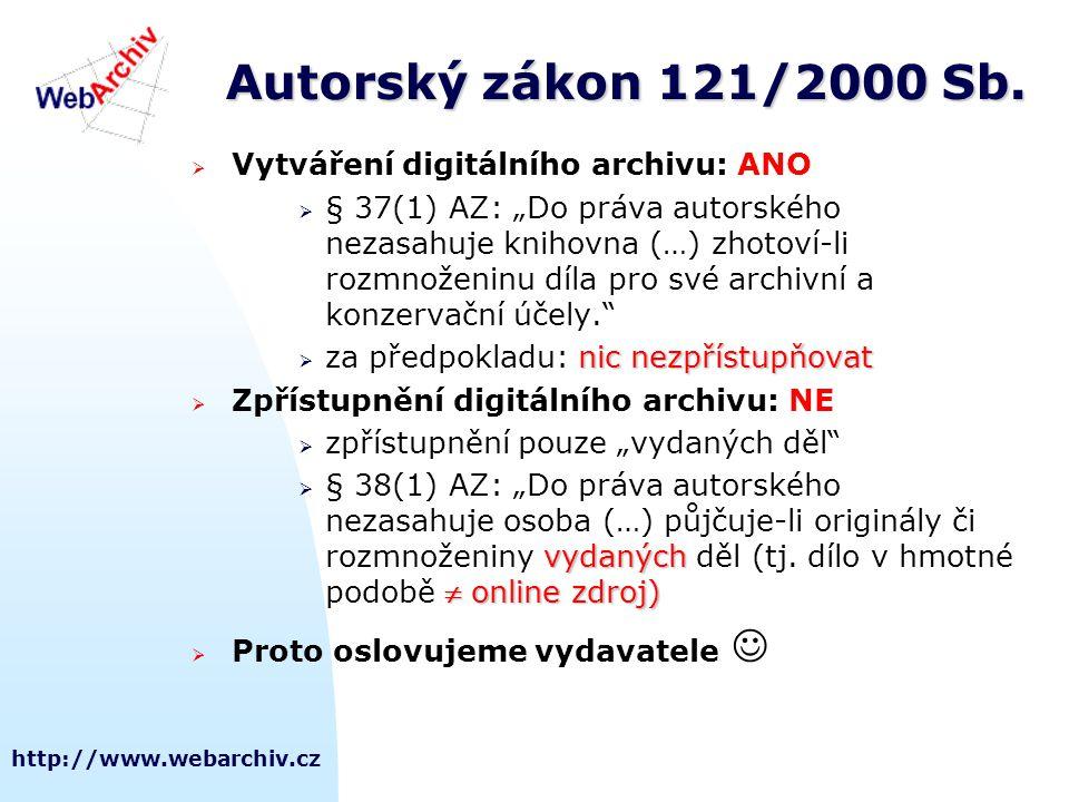 Autorský zákon 121/2000 Sb. Vytváření digitálního archivu: ANO