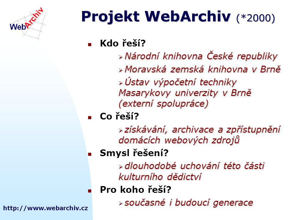 Projekt WebArchiv (*2000) Kdo řeší Národní knihovna České republiky