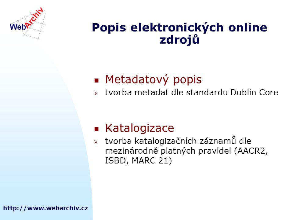 Popis elektronických online zdrojů