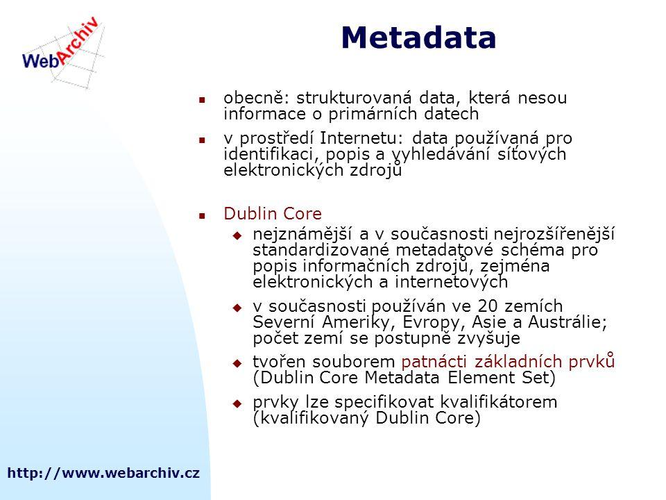 Metadata obecně: strukturovaná data, která nesou informace o primárních datech.