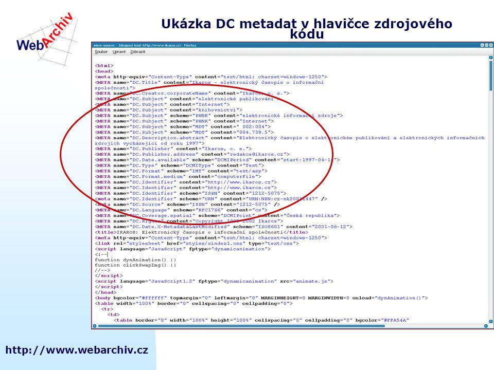 Ukázka DC metadat v hlavičce zdrojového kódu
