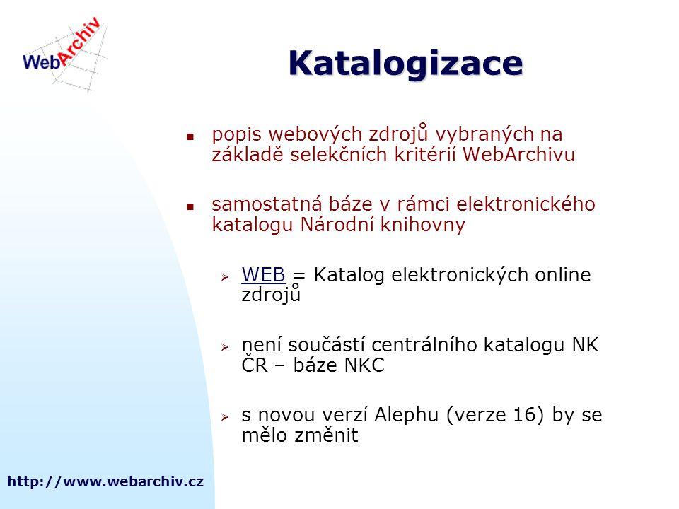 Katalogizace popis webových zdrojů vybraných na základě selekčních kritérií WebArchivu.