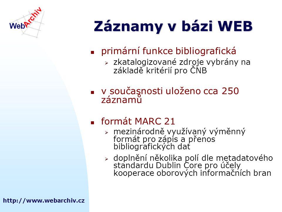 Záznamy v bázi WEB primární funkce bibliografická