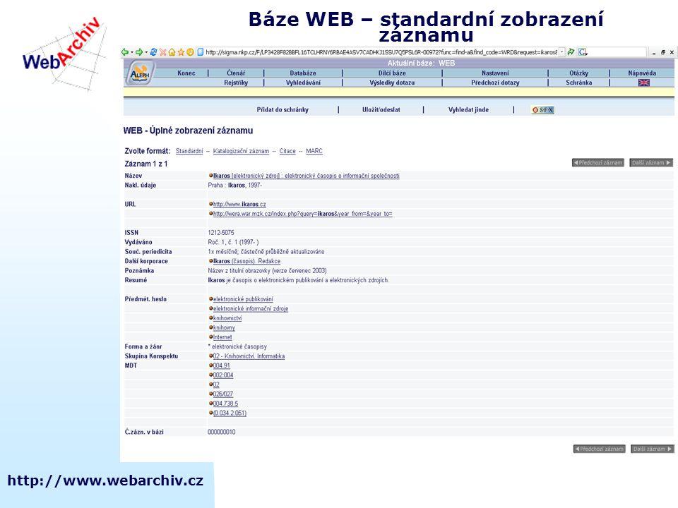 Báze WEB – standardní zobrazení záznamu