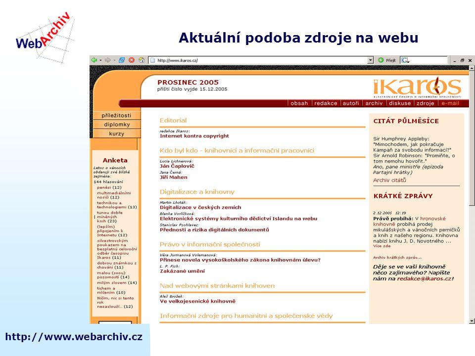 Aktuální podoba zdroje na webu
