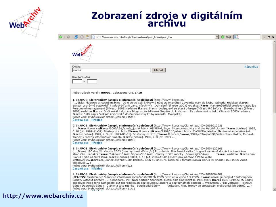 Zobrazení zdroje v digitálním archivu