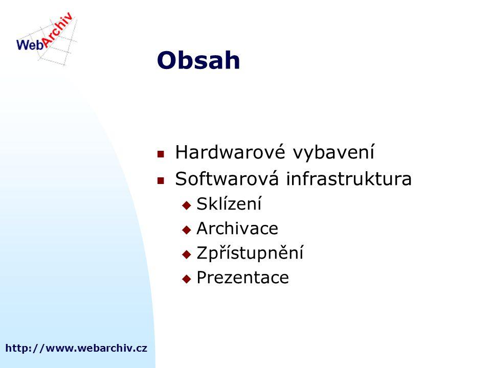 Obsah Hardwarové vybavení Softwarová infrastruktura Sklízení Archivace