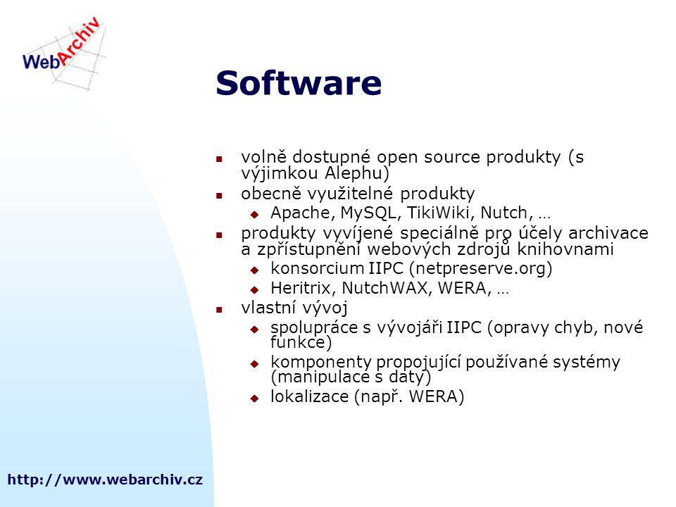 Software volně dostupné open source produkty (s výjimkou Alephu)
