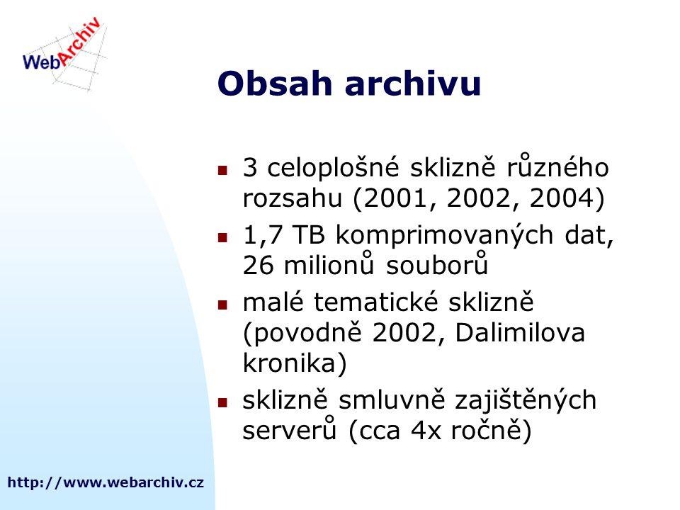 Obsah archivu 3 celoplošné sklizně různého rozsahu (2001, 2002, 2004)