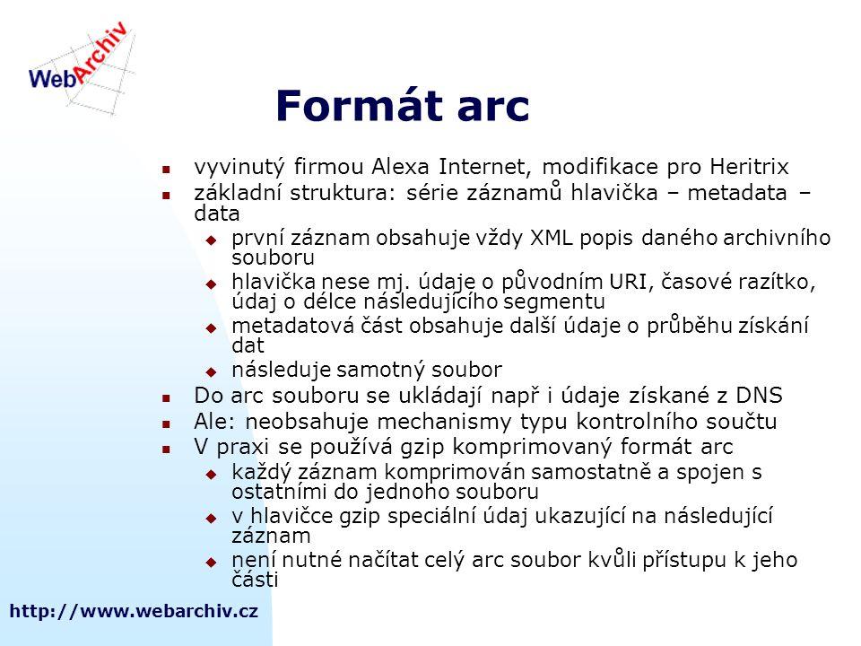 Formát arc vyvinutý firmou Alexa Internet, modifikace pro Heritrix