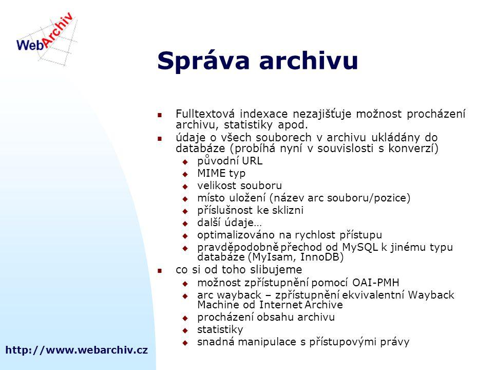Správa archivu Fulltextová indexace nezajišťuje možnost procházení archivu, statistiky apod.