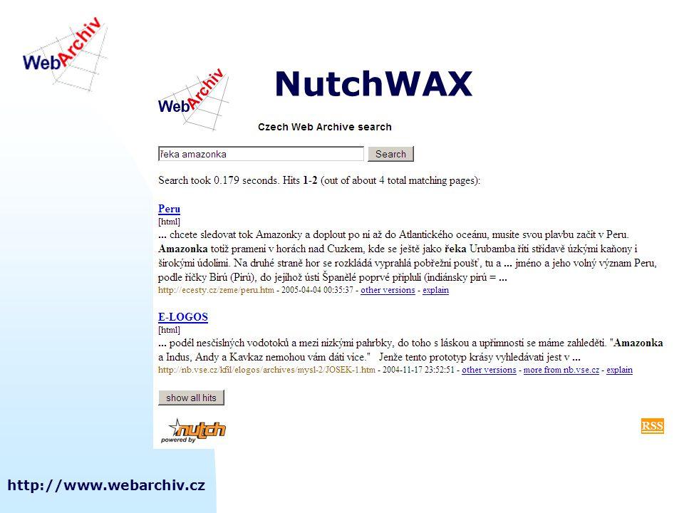NutchWAX http://www.webarchiv.cz