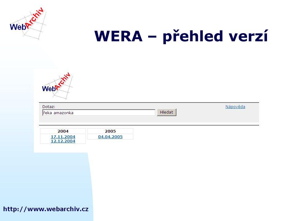 WERA – přehled verzí http://www.webarchiv.cz
