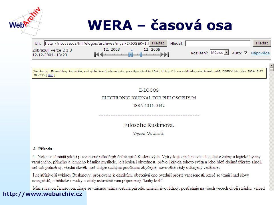 WERA – časová osa http://www.webarchiv.cz