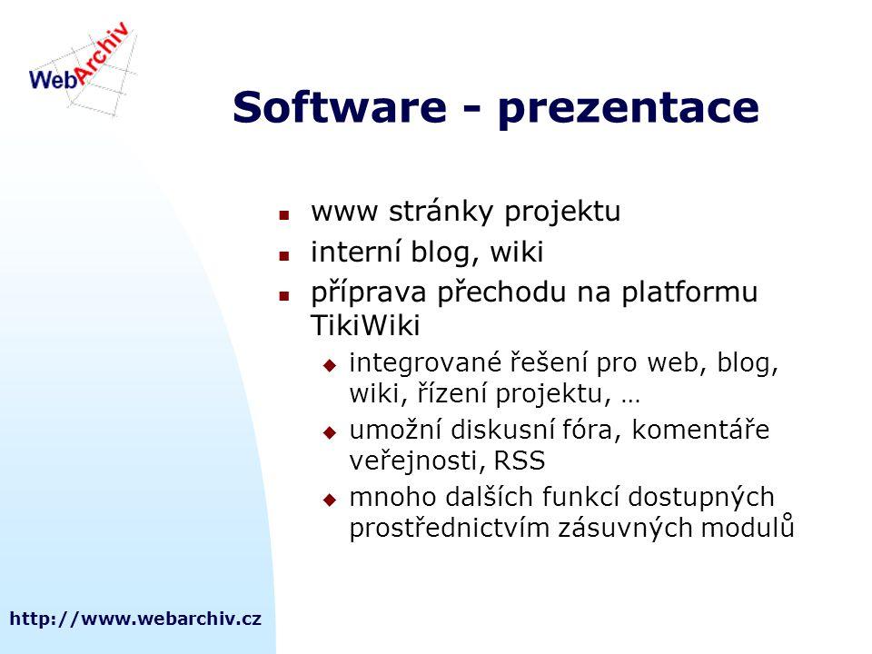 Software - prezentace www stránky projektu interní blog, wiki