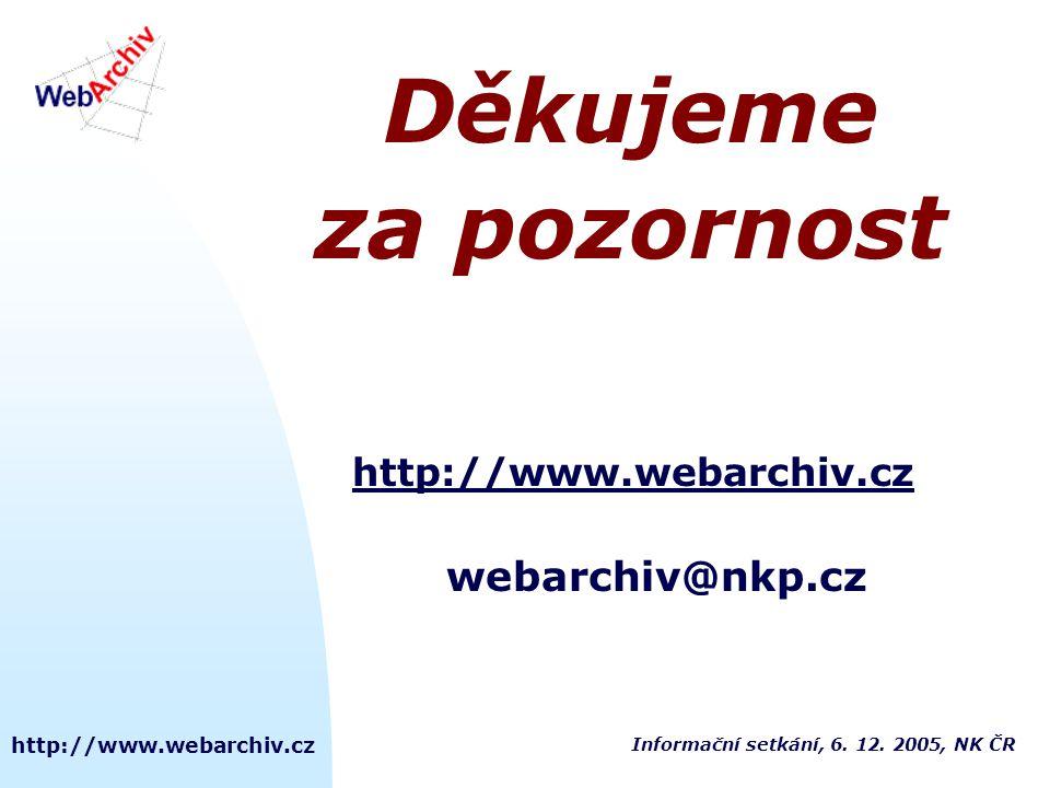 Děkujeme za pozornost webarchiv@nkp.cz http://www.webarchiv.cz