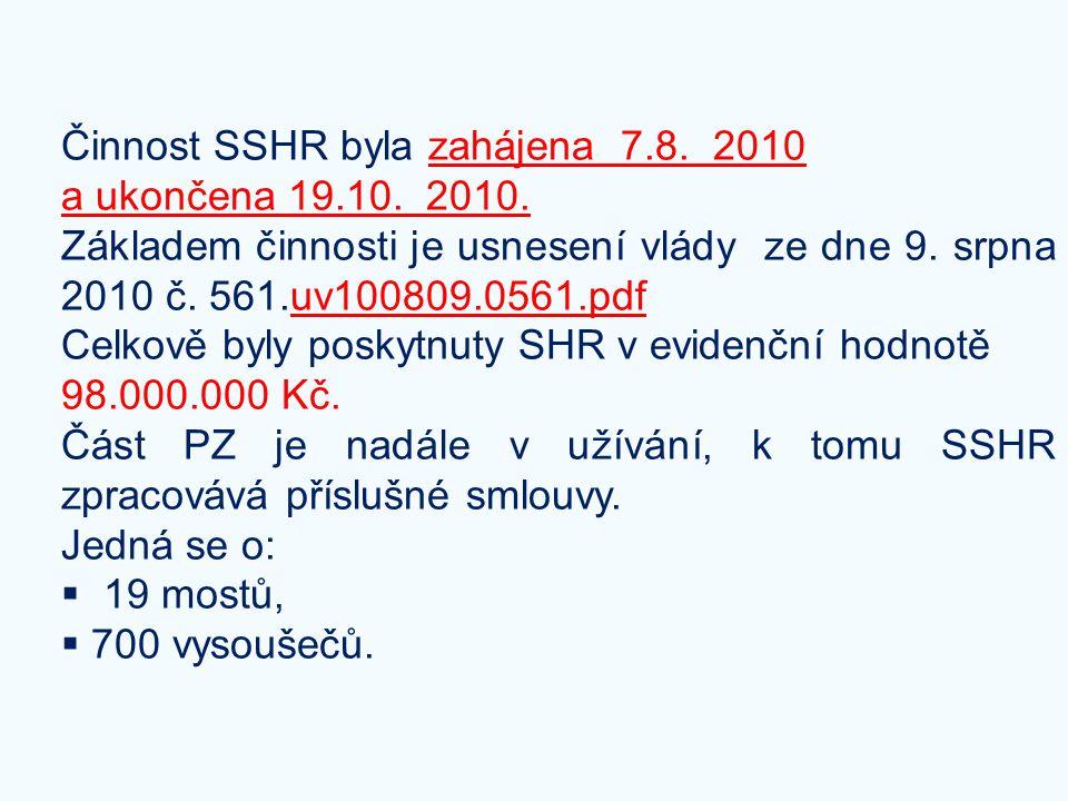 Činnost SSHR byla zahájena 7.8. 2010