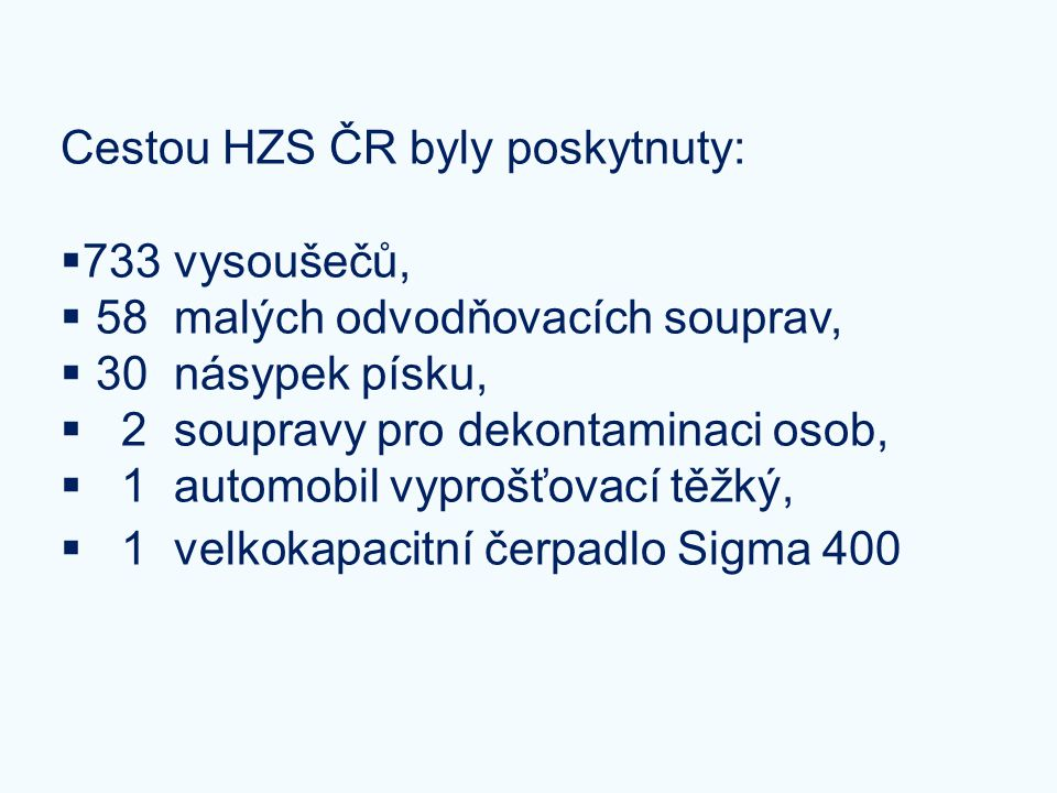 Cestou HZS ČR byly poskytnuty: