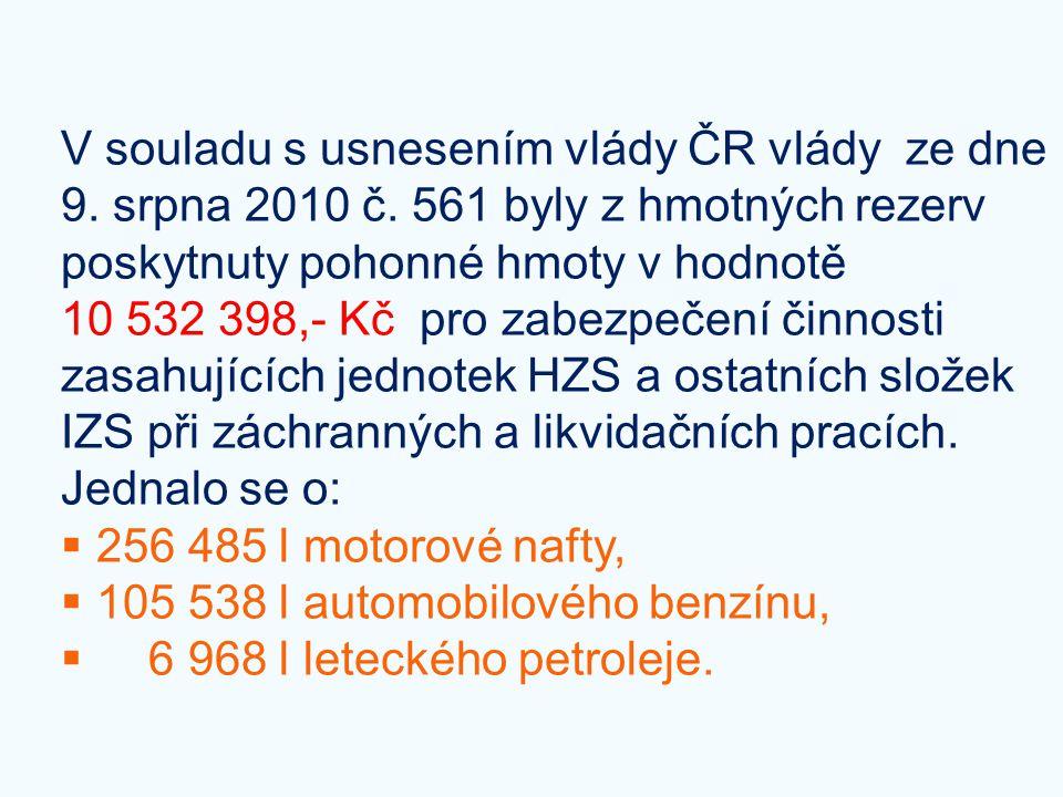 V souladu s usnesením vlády ČR vlády ze dne 9. srpna 2010 č
