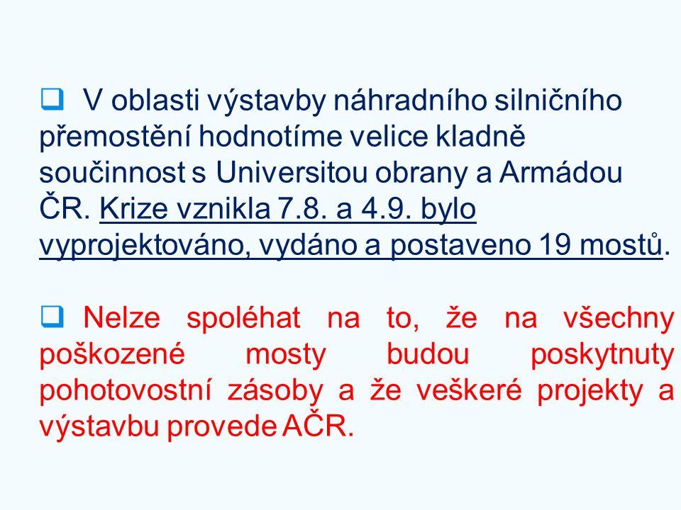 V oblasti výstavby náhradního silničního přemostění hodnotíme velice kladně součinnost s Universitou obrany a Armádou ČR. Krize vznikla 7.8. a 4.9. bylo vyprojektováno, vydáno a postaveno 19 mostů.