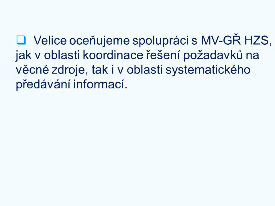 Velice oceňujeme spolupráci s MV-GŘ HZS, jak v oblasti koordinace řešení požadavků na věcné zdroje, tak i v oblasti systematického předávání informací.