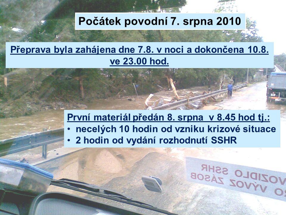 Přeprava byla zahájena dne 7.8. v noci a dokončena 10.8. ve 23.00 hod.