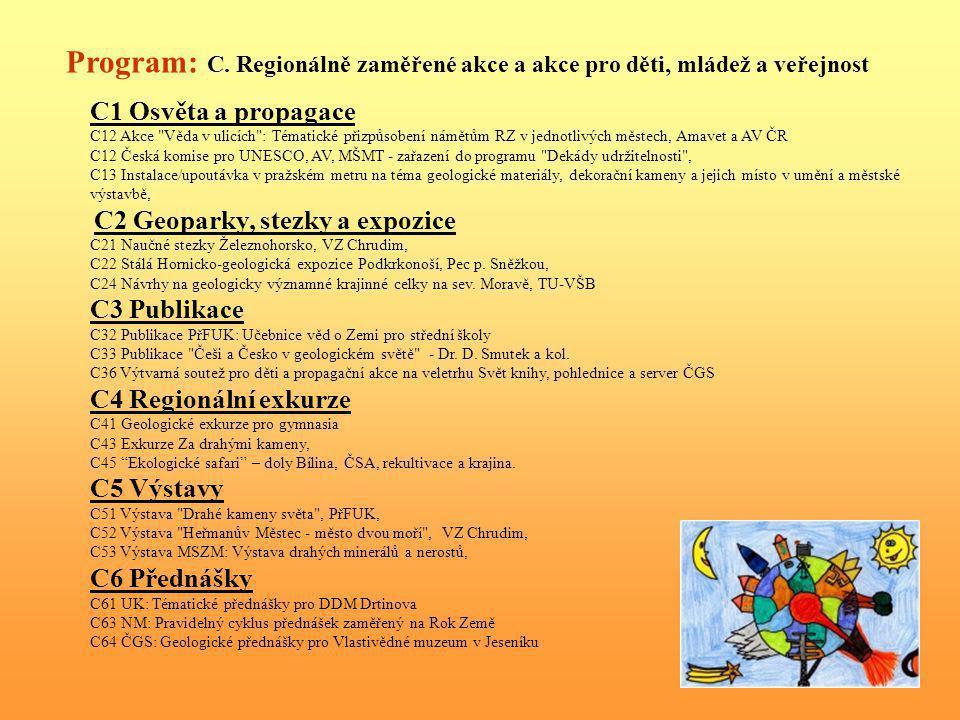 Program: C. Regionálně zaměřené akce a akce pro děti, mládež a veřejnost