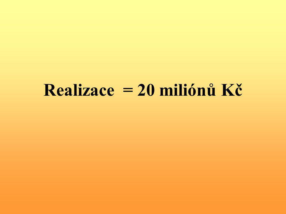 Realizace = 20 miliónů Kč