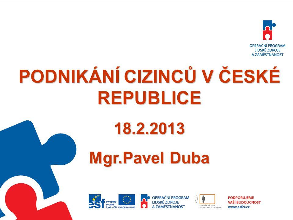 PODNIKÁNÍ CIZINCŮ V ČESKÉ REPUBLICE
