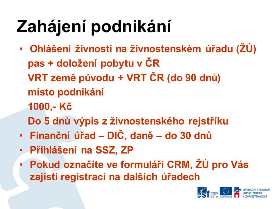 Zahájení podnikání Ohlášení živnosti na živnostenském úřadu (ŽÚ)