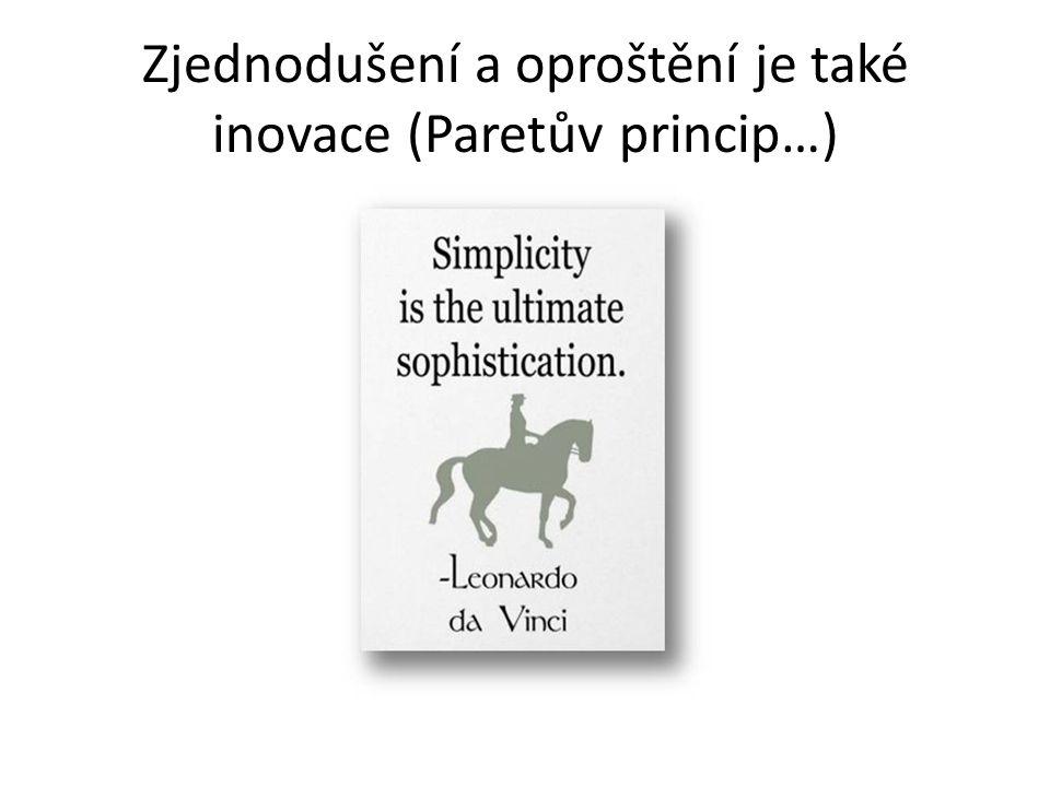 Zjednodušení a oproštění je také inovace (Paretův princip…)
