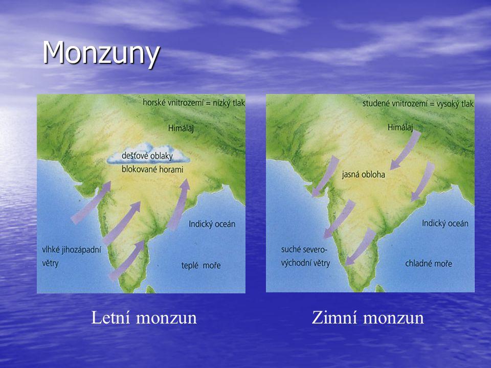 Monzuny Letní monzun Zimní monzun