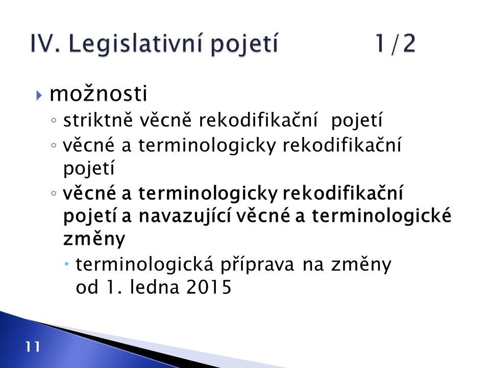 IV. Legislativní pojetí 1/2