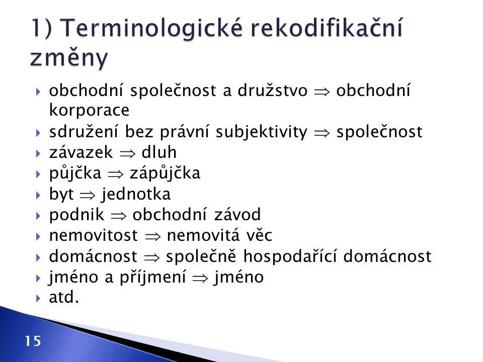 1) Terminologické rekodifikační změny